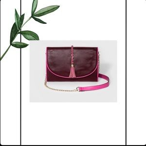 A New Day Women's Berry Tassel Clutch NWT